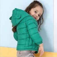 Зимняя одежда для мальчиков и девочек из хлопка с капюшоном Детская куртка теплый медведь мультфильм мальчик зимнее пальто для девочек оде...