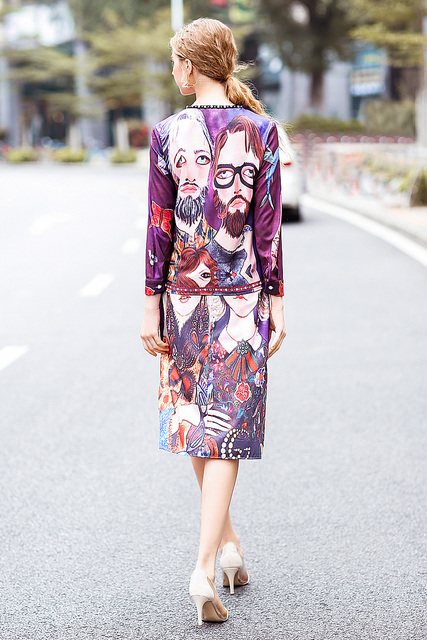 XF Fashion Runway Two-Piece Spring Summer Dress Women'S Bohemian Retro Diamond Tunic + Bag Hip Skirts Head Printing 2 Sets 3