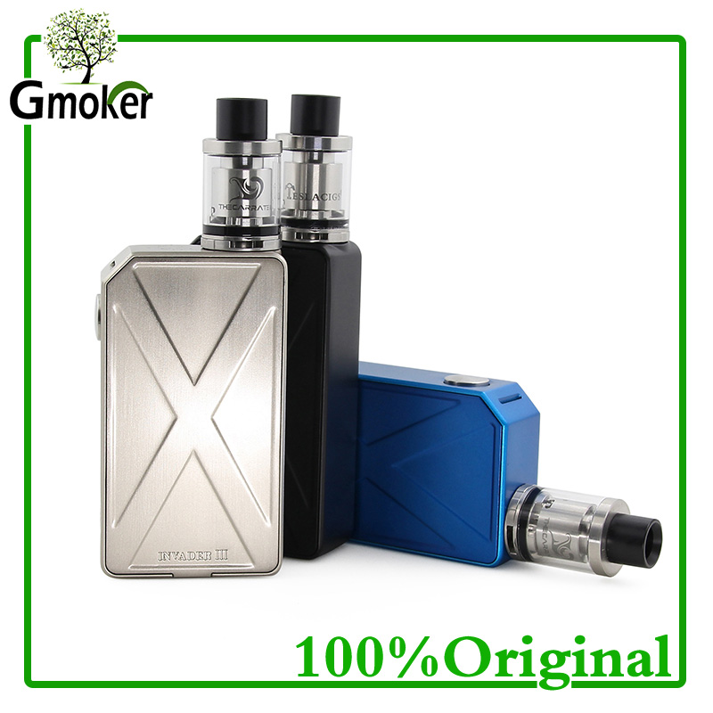 100% Original Tesla Invader III Starter Kit with 240W Invader 3 Box Mod and 2ML Carrate 22 RTA Tank Electronic Cigarette Kit