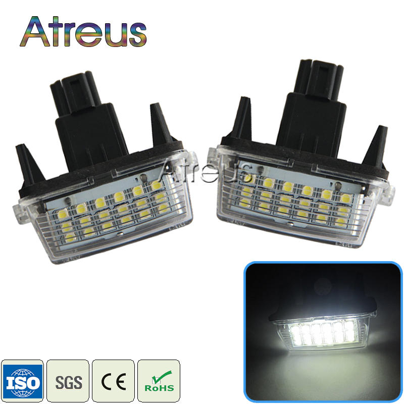 Atreus 2Pcs Car LED License Plate Lights 12V SMD3528 Number Plate Lamp For Toyota Corolla Yaris Camry 12-15 Auris Vios Hybrid for lexus toyota corolla atis 2001 2007 led car license plate light number frame lamp high quality led lights