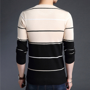Image 5 - Knitted Large Size 5XL O neck Striped Patchwork Mens Sweater Slim Business Home Long Sleeve Casual Sweaters 2020 Autumn Winter