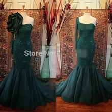 Muslim Mermaid Evening Dresses 2016 One Shoulder long Sleeve Women Gowns with Detachable Flower