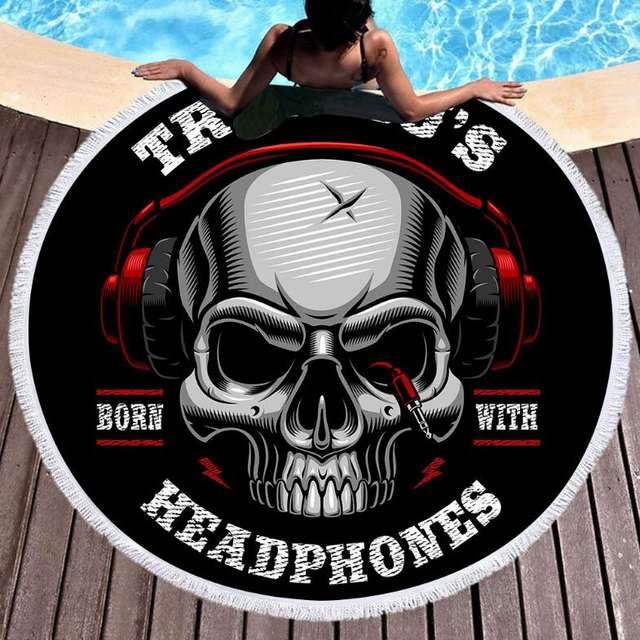 SKULL HEADPHONES ROUND BEACH TOWEL