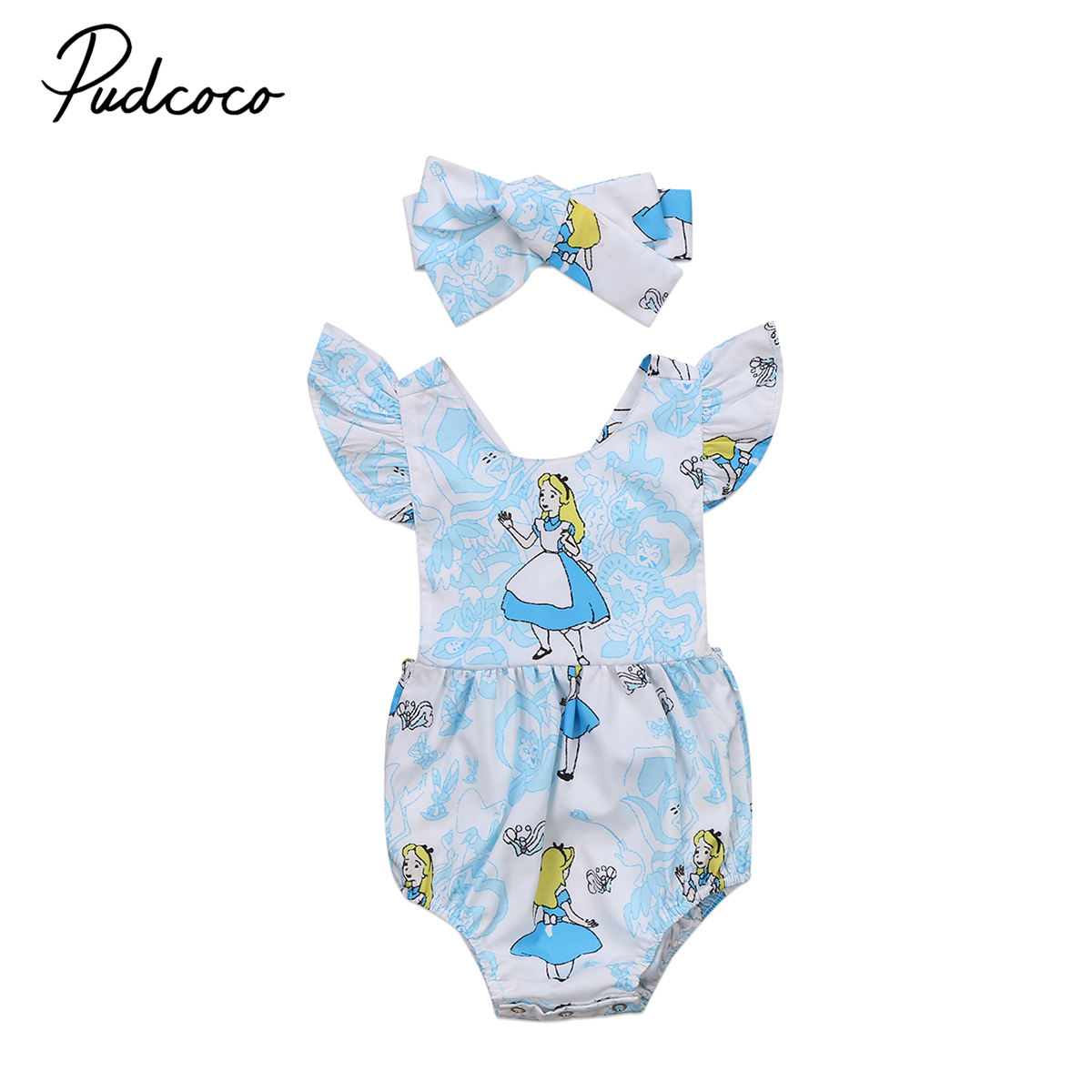 Sweet Newborn Baby Girls Clothing Short sleeve Princess Print Romper Jumpsuit Baby Cotton Blue Clothes Outfits 0-2Y