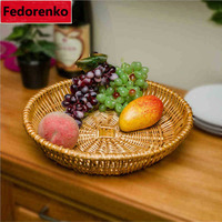 Natural Wicker Storage Tray Handmade Weaving Dry Fruit Bread Table Container Rattan Basket For Kitchen Household
