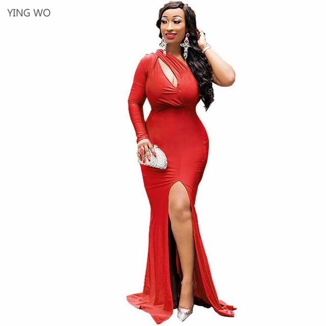 de99e96c29c Red Blue Black One-Sleeve Slanted Shoulder Maxi Dress Sexy Night Club Party  Wear Open Bust Backless High Legs Floor-length Dress