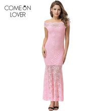 Comeonlover High quality lace long elegant dresses slash neck sexy party  robes dentelle bodycon 4XL women 902f8713d4af