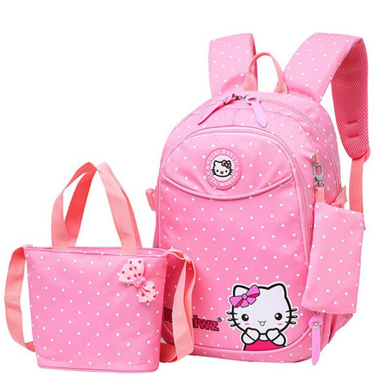 Hello Kitty Children Schoolbags 3pcs Girls Cartoon Backpack for Primary  School Students Kids Satchel Casual Bookbag Mochila-in School Bags from  Luggage ... ed1ceac1bd