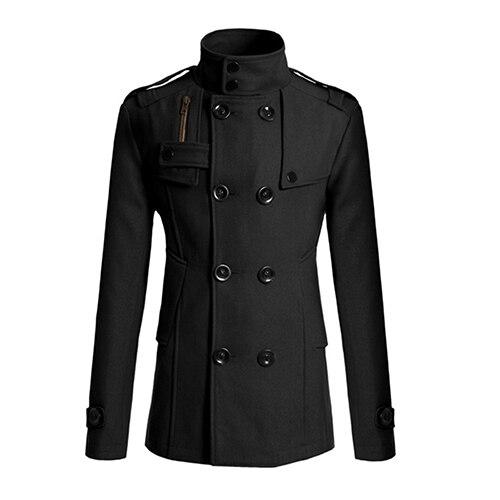 New Arrival Men's Fashion Slim Long Trench Coat Windbreaker Lapel Button Jacket Outwear