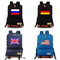 Russia USA UK France Germ National flag backpack school bag Daily backpack Creative gift Black Blue Purple Gray
