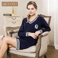 Qianxiu ropa de dormir para el Otoño chica nueva popular costura camisón cómodo para las mujeres