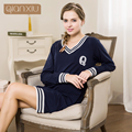 Qianxiu sleepwear for girl Autumn new popular stitching nightgown comfortable for women