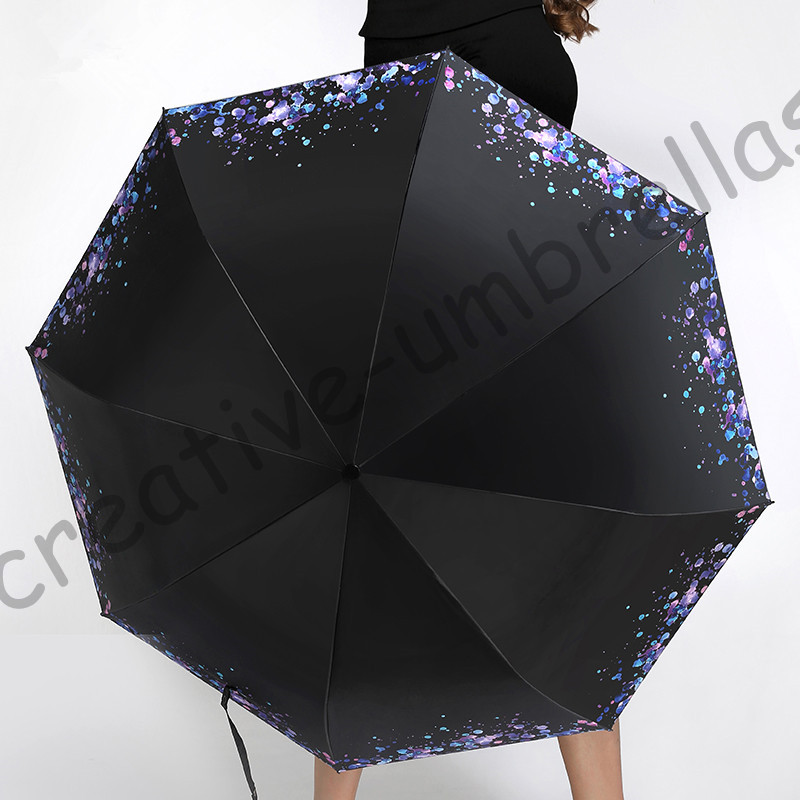 3pcs get 1pc free Ox flexible fiberglass windproof 5times black coating anti-UV parasol pocket folding water drop umbrella
