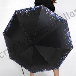 3pcs get 1pc free Ox flexible fiberglass windproof 5times black coating anti-UV parasol pocket folding rain water drop umbrella