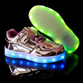 Size 25-27 New 2016 Spring Led Shoes Kids USB Children Light Up Sneakers Boys Basket Led Shoes Chaussure Lumineuse Enfant Marque