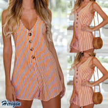 Summer Jumpsuits 2019 new Women Casual Sleeveless V-neck Single-breasted Loose Striped