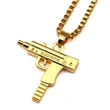 Chapado En oro Pistola Arma SUPREMA Estrella Collar de Joyería de Los Hombres Encanto Cadena de Franco del Hip Hop Danza Hiphop Collar de Oro