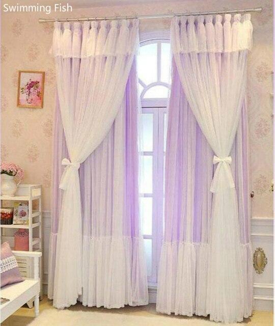 Nouveau rêve coréen 3 couches rideaux pour fille chambre princesse vent  salle de mariage dentelle pure tulle multi couche fenêtre rideau