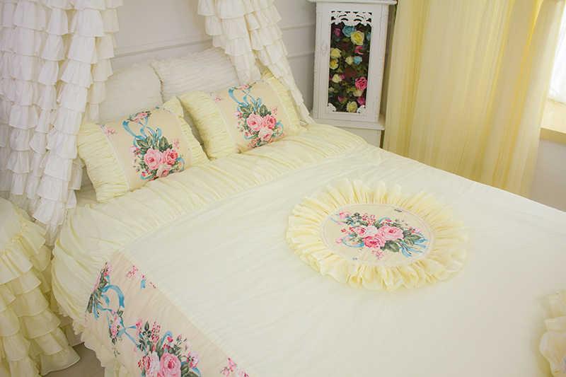 Korean Luxury Beige yellow Bedding sets Curtains Window ...