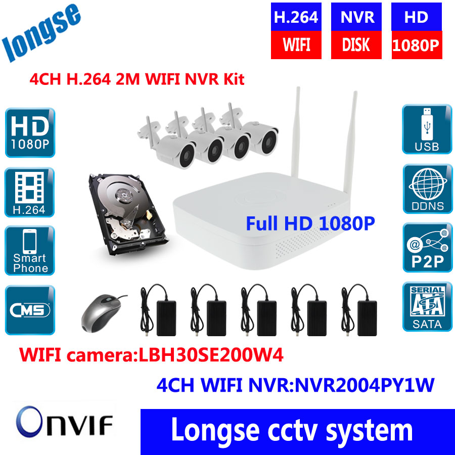 Plug And Play 1080P  Outdoor IR Night Vision Home Surveillance Security IP Camera WIFI CCTV System 4CH Wireless NVR Kit 1TB HDD anran plug and play 8ch wireless nvr surveillance kit p2p 720p hd outdoor ir night vision security ip camera wifi cctv system