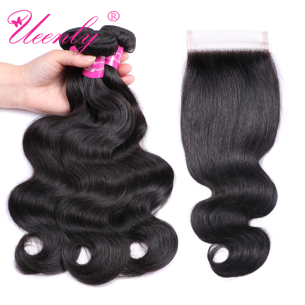 UEENLY Hair-Extensions Closure Human-Hair-Bundles Free-Part Body-Wave Peruvian with Non-Remy