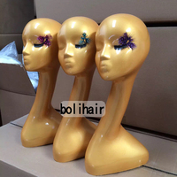 Fashion High Level Best Quality Female Golden Mannequin Head For Wig Jewelry Scarf Hat Display Realistic Mannequin Head for Sale