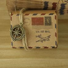 Free Shipping 100pcs/pack Retro Postal Paper Wedding Candy Boxes with Hemp Rope Brown Paper Square Favor Candy Boxes Supplies