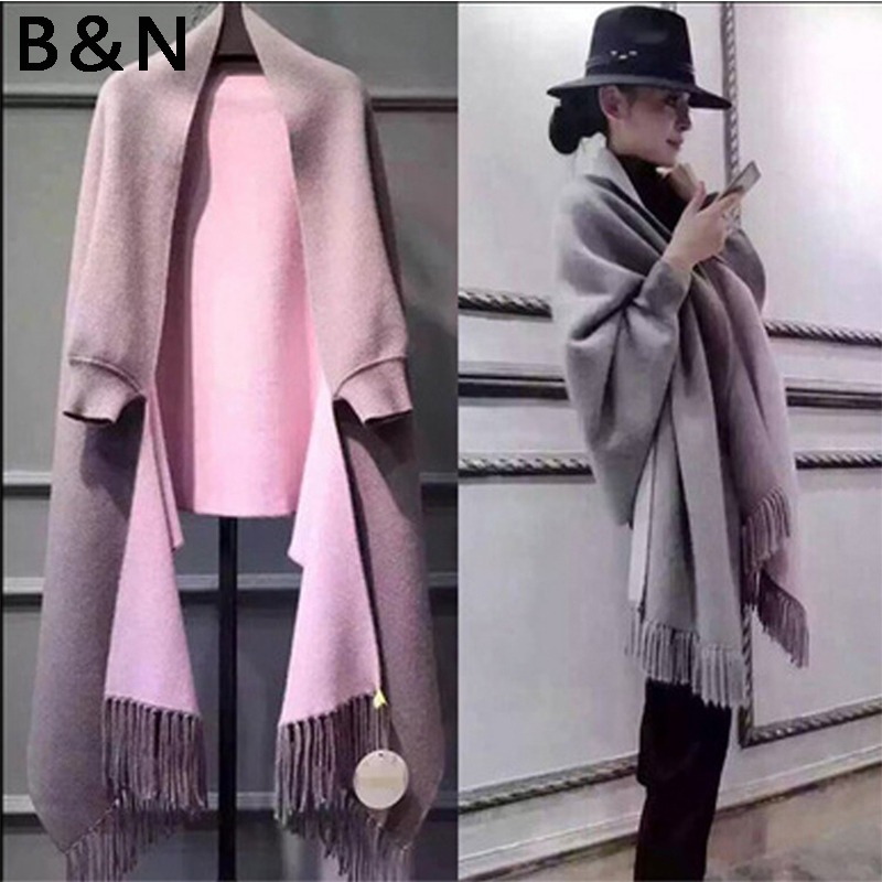 2018 autumn winter High quality Oversize Double Side Scarf Faux Cashmere Poncho Women Female Long Sleeves Wrap Vintage Shawl