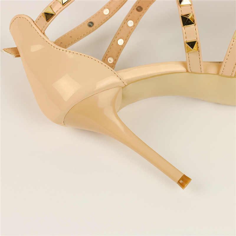 2019 女性 9 センチメートルハイヒールリベット白サンダル女性プラスサイズ 42 かかとの靴スタッズウェディングブライダル小剣夏パンプス