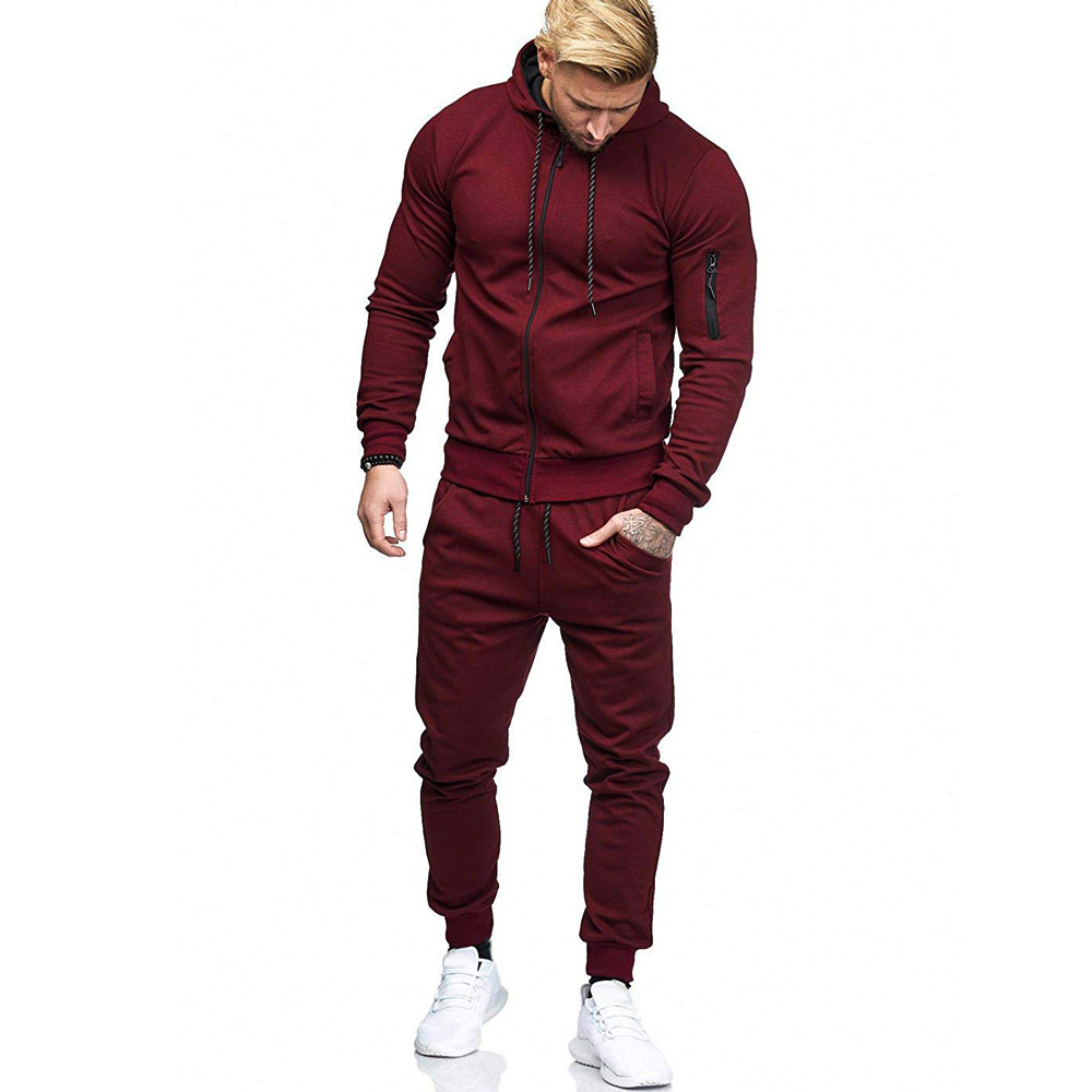 HTB19RtPwVooBKNjSZPhq6A2CXXan 2019 fashion Patchwork Zipper Sweatshirt Top Pants Sets Sports Suit solid color slim Tracksuit High Quality Pullover clothing