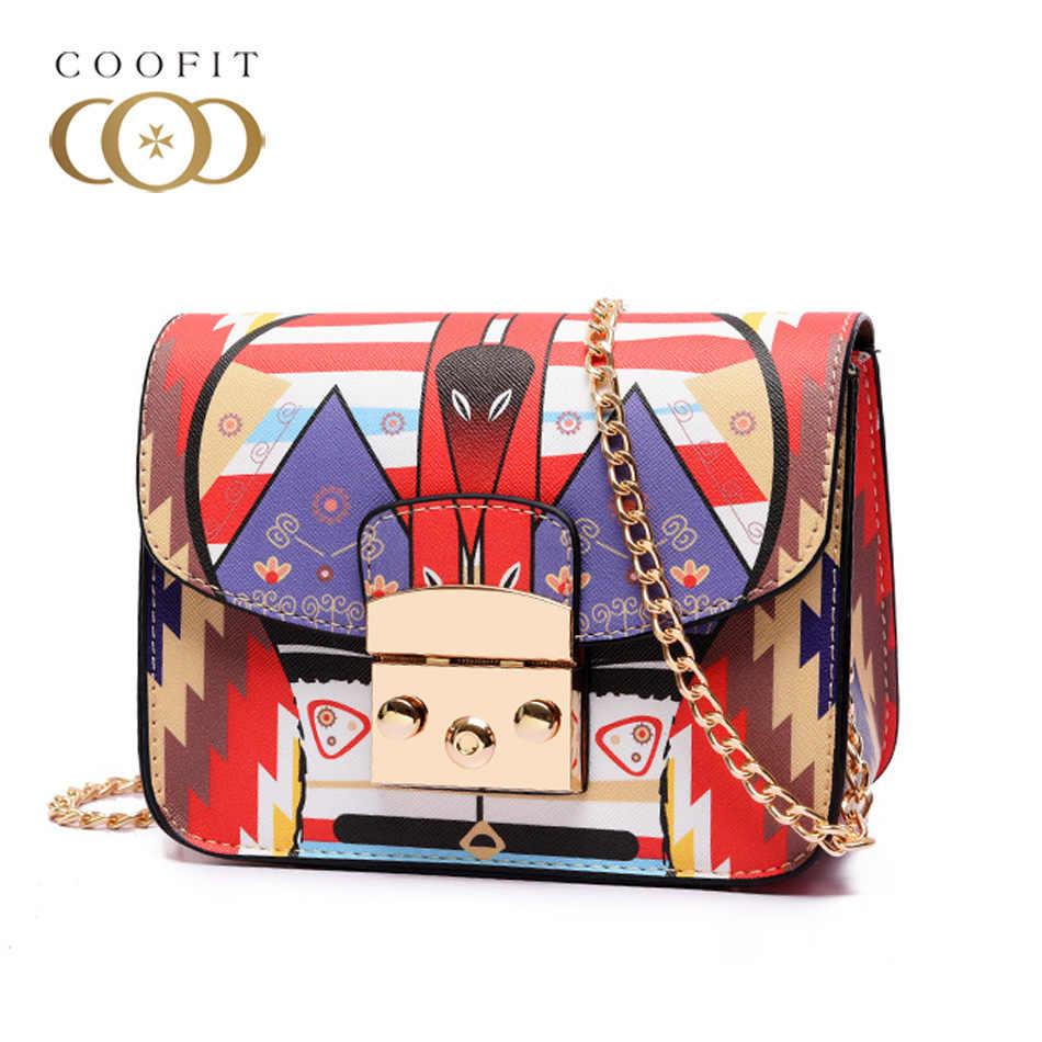 093fa04dfed4 Coofit New Wave Graffiti Printed Chain Shoulder Bag Fashion Lock Small Square  Bag Messenger Japan And