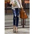 Nueva primavera otoño pantalones vaqueros del lápiz moda mujer de color caramelo mediados de cintura larga duración cremallera Slim Fit flaco mujeres pantalones
