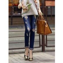 Весна новая осень мода карандаш джинсы женщина конфеты цветные средний талия полная длина молнии тонкой тощие женщины брюки