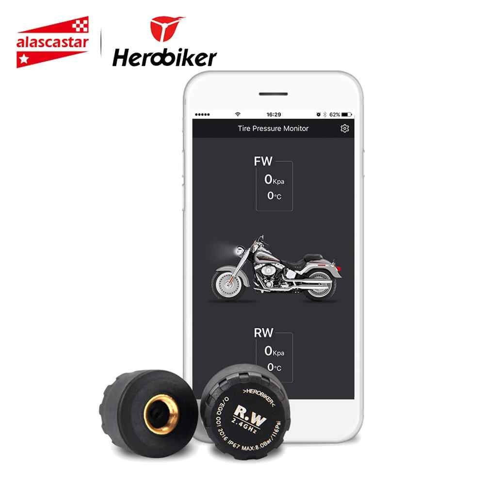 HEROBIKER Motorcycle Bluetooth Wireless Moto Tire Pressure Monitoring System TPMS Mobile Phone APP Detection 2 External Sensors