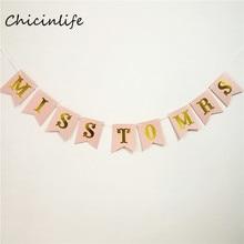 "1set Pink/White ""Miss To Mrs"" Banner"