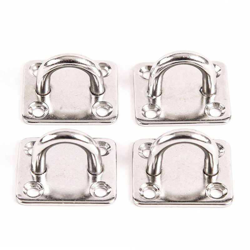 4x 316 Stainless Steel 6mm Square Eye Plates 1/4 inch Marine SS Pad Boat Rigging