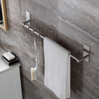 Stainless Steel Bathroom Accessories Bathroom Towel Bars Free Punching Bathroom Accessories Hardware Sets with 4 Hooks H