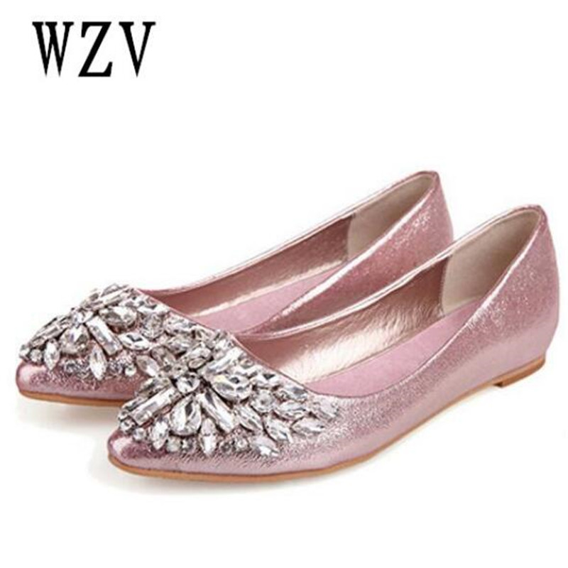 2018 New Women Flats Fashion Soft bottom diamond Pointy Toe Ballerina Ballet Flat Slip On women Shoes B201 2018 new women flats fashion soft bottom diamond pointy toe ballerina ballet flat slip on women shoes b201