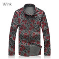 Men Floral Shirts M-7XL Fashion Casual Loose 2015 New Camisas Long Sleeve Social Business Dress Floral Print Homme Shirts J397