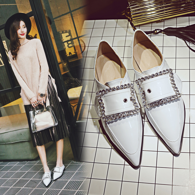 ФОТО Women Leather Buckle Crystal Flat Ankle Shoes Fashion Casual Spring  Autumn Pointed Toe Lady Shoes 20170125