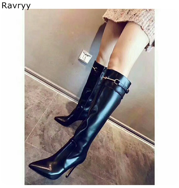 Concise Black Leather Woman long Boots metal decor Autumn Winter Fashion Female knee-high Boots Pointed Toe Thin Heel Party ShoeConcise Black Leather Woman long Boots metal decor Autumn Winter Fashion Female knee-high Boots Pointed Toe Thin Heel Party Shoe