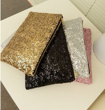 Los modelos de explosión 2015 nueva moda mano de recogida de lujo retro completa de las lentejuelas bolso cosmético bolso de mano