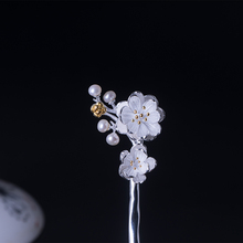 Hair Pin with Plum Flower