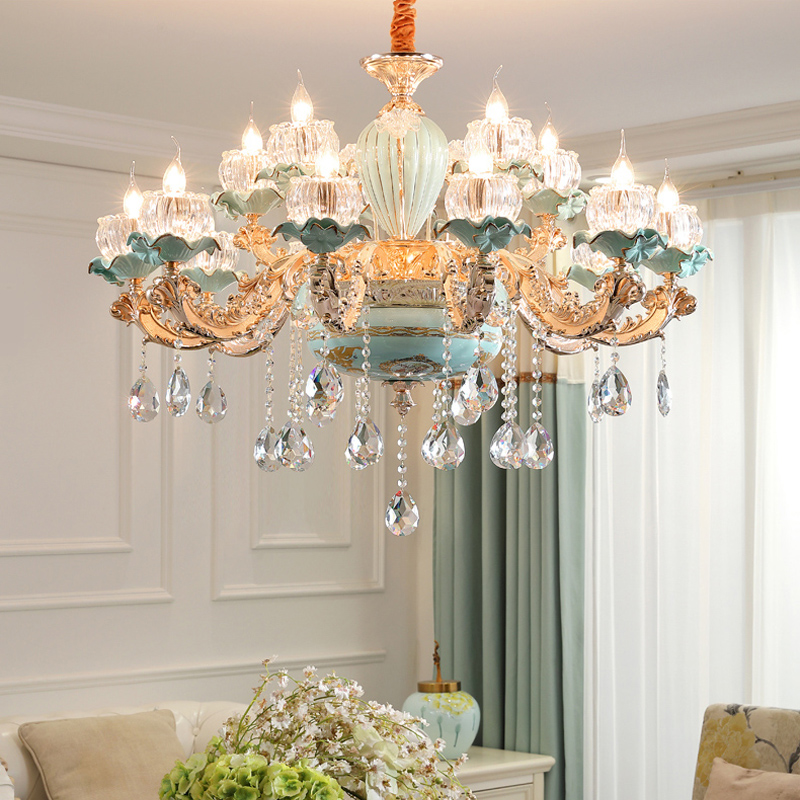Luxury Modern Chandeliers Candelabra Stained Glass Lamp Shade Flower Chandelier French Crystal Light Fixture Bed Room