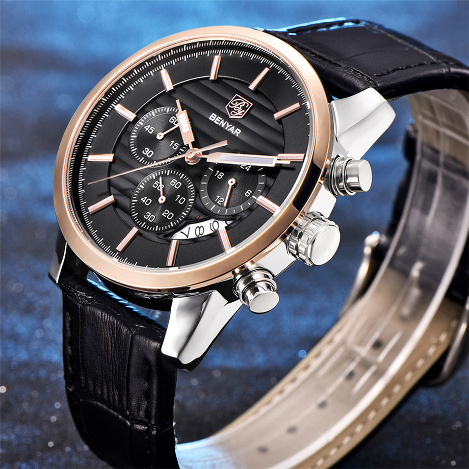 BENYAR Watch Men Waterproof Chronograph Business Dress Mans Watches Date Quartz Wristwatches Male Hour relogio masculino 2017 (20)