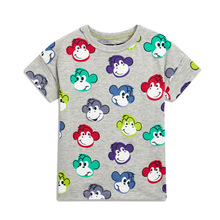 summer T-Shirts For Boys girls Colorful monkey print t-shirt 2-8 Year Boy Clothes  new fashion kids 2018 sport clothes camisetas