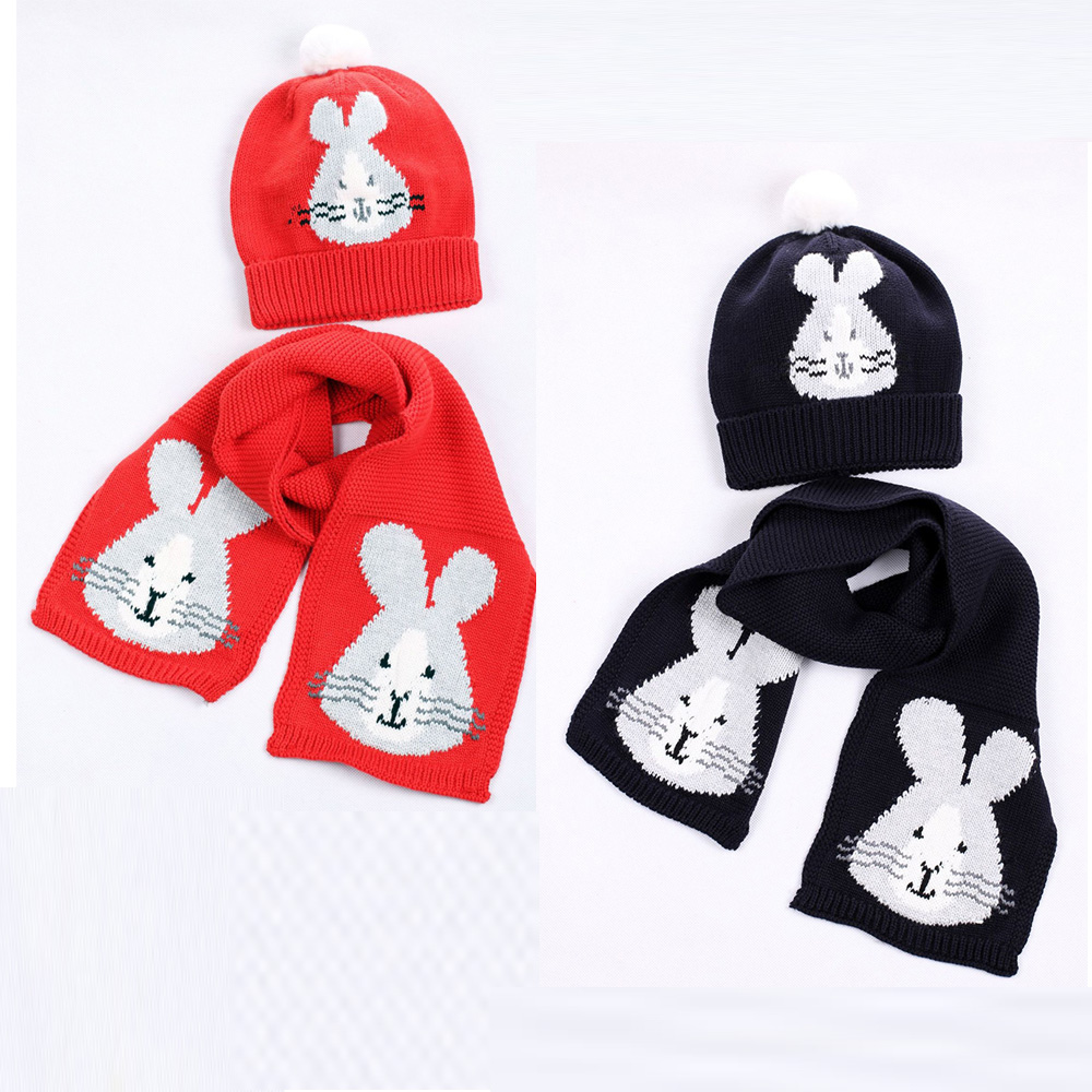 Girl Knit Hat Scarf Set Baby Cotton Warm Winter Beanie Animal Rabbit Pompon Autumn Headwear Boys Skiing Outdoor Accessory