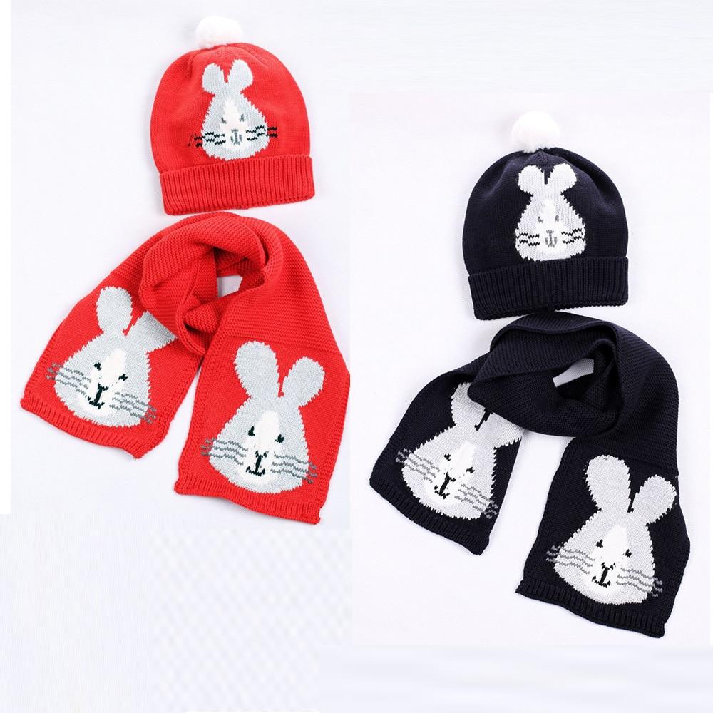 Girl Knit Hat Scarf Set Baby Cotton Warm Winter Beanie Animal Rabbit Pompon Autumn Headwear Boys Skiing Outdoor Accessory