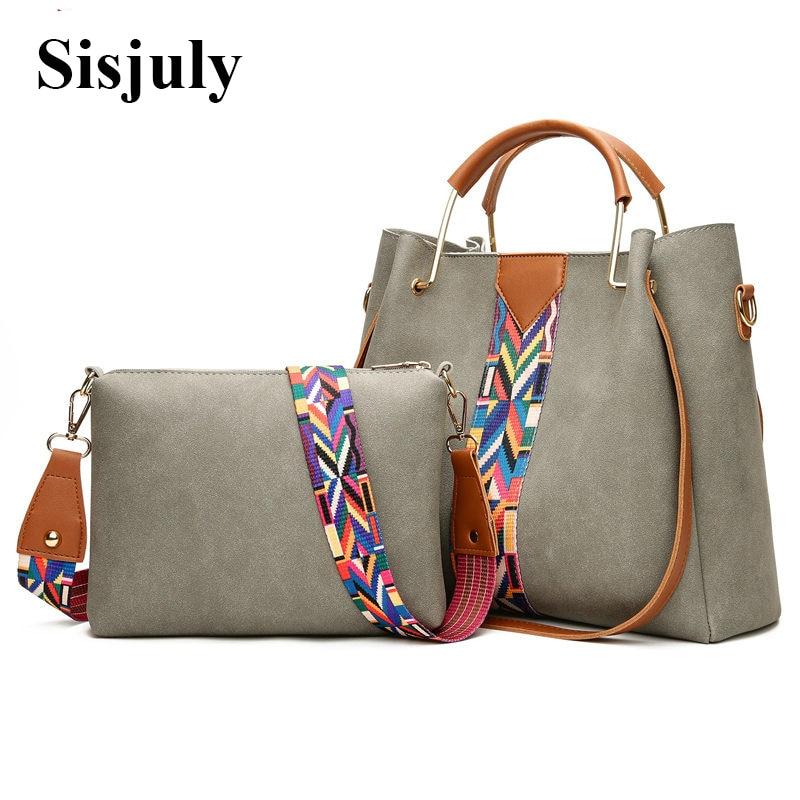 2Pcs Bag Sets Colorful Strap Women Bags Female Luxury Ladies HandBags High Quality PU Leather Crossbody Bags Designer 2018 Tote