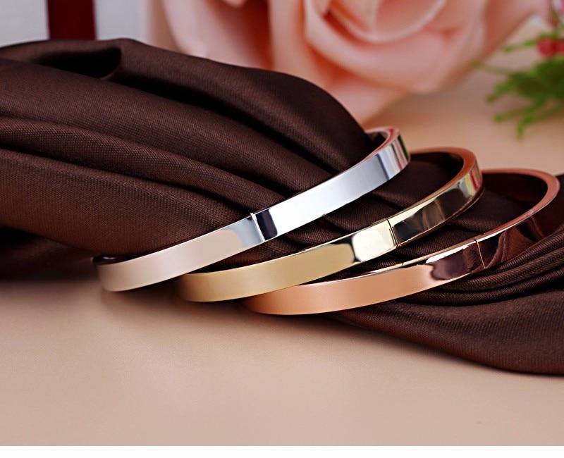 Luxury Lover Cuff Bracelets&Bangles Top Silver Color Brand Couples Simple Glaze Buckle Love Charm Bracelet For Women Or Men 10
